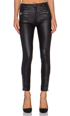 7 For All Mankind High Waist Moto Zip Ankle Skinny in Black