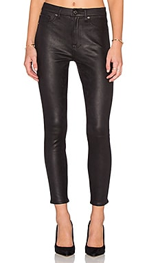 7 For All Mankind Ankle Seam Skinny Like in Black Leather