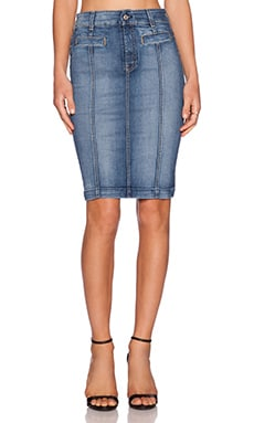 7 For All Mankind Seamed Pencil Skirt in Distressed Authentic Blue