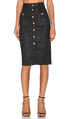 7 For All Mankind Button Front Midi Skirt in Luxe Jeather