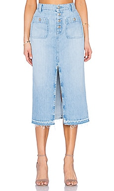 7 For All Mankind Exposed Button Midi Skirt in Cool Cloudy Blue