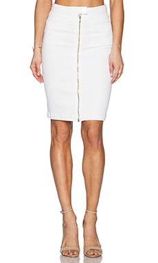 7 For All Mankind Front Zip Pencil Skirt in Runway White