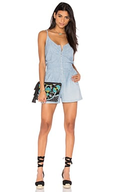 Zip Front Romper in Stretch Chambray