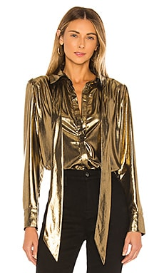 Foil Satin Blouse with Neck Tie Top 7 For All Mankind $57