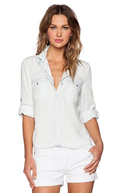 7 For All Mankind 3/4 Sleeve Open Back Shirt in Ocean Mist
