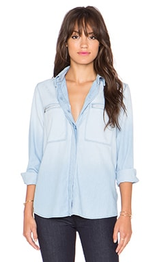 7 For All Mankind Zip Pocket Button Up in Glacier Light Blue