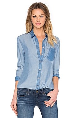 7 For All Mankind Colorblock Button Up in Colorblock Blue