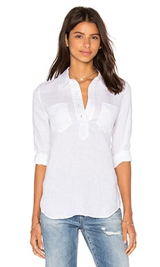 7 For All Mankind Patch Button Up in Blanc & Blanc