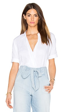 7 For All Mankind Cross Front Top in Blanc De Blanc