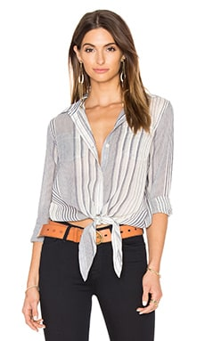 Stripe Tie Front Button Up en Marine & Ivoire