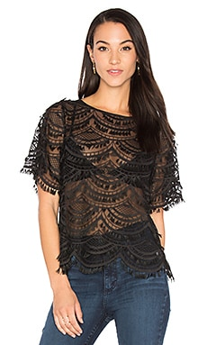 Short Sleeve Lace Top en Noir