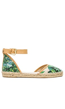 Seychelles Circle Flat in Green Floral Raffia