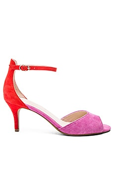 Hazel Heel in Fuschia & Red Suede