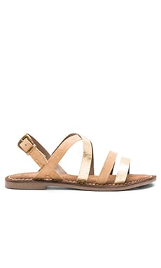 Onward Calf Hair Sandal in Taupe & Gold