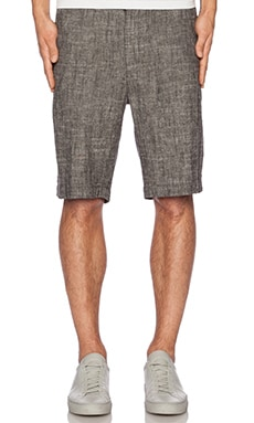 Shades of Grey by Micah Cohen Flat Front Short in Black Linen Chambray