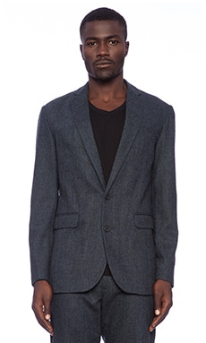 Shades of Grey by Micah Cohen 2 Button Blazer in Dark Blue Tweed