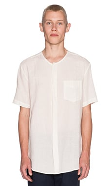 Shades of Grey by Micah Cohen Collarless Shirt in Ivory