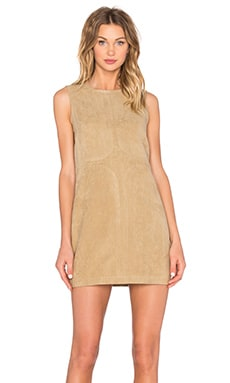 Shades of Grey by Micah Cohen Seam Detail Shift Dress in Camel Ultrasuede