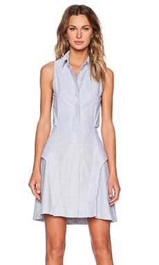 Shades of Grey by Micah Cohen Peek-A-Boo Shirtdress in Blue Stripe Oxford