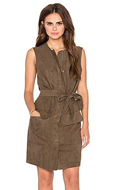 Shades of Grey by Micah Cohen Sleeveless Trench Shift Dress in Olive