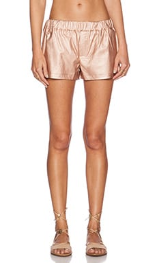 Shades of Grey by Micah Cohen Faux Leather Gym Short in Metallic Rose Gold