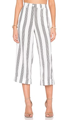 Shades of Grey by Micah Cohen Cuffed Culotte in Sailor Stripe Linen Crepe