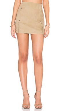 Shades of Grey by Micah Cohen Envelope Mini Skirt in Camel Ultrasuede