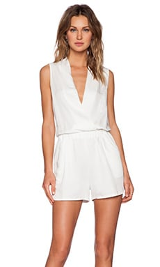 Shades of Grey by Micah Cohen Wrap Romper in White