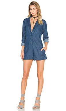 Shades of Grey by Micah Cohen Double Placket Romper in Washed Indigo Denim