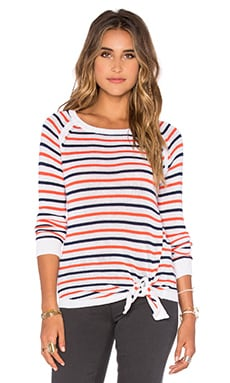 Tie Front Stripe Pullover Sweater in Blood Orange & Navy