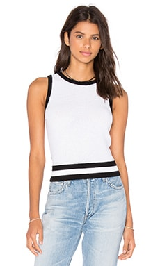 Tennis Sweater Tank in White Combo