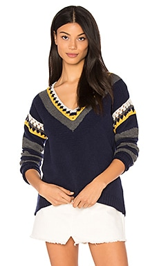 Crochet V Neck Sweater in Navy Combo