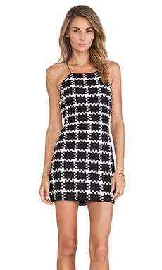 Shakuhachi Check Weave Dress in Black & White