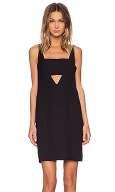 Shakuhachi Twisted Deep V Dress in Black
