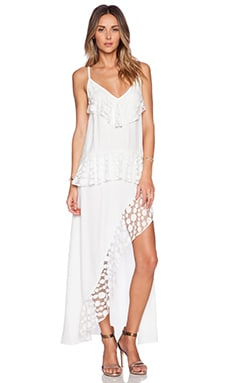 Shakuhachi Stevie Lace Trim Split Dress in White