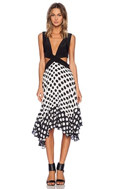 Shakuhachi Cut Out Polka Swing Dress in White Polka