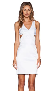 Shakuhachi Cut Out Dress in Shiny White