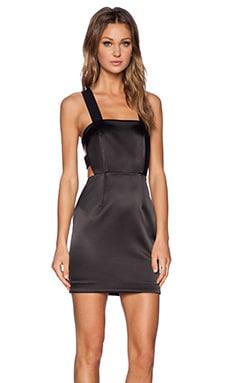 Shakuhachi Strappy Back Apron Dress in Shiny Black