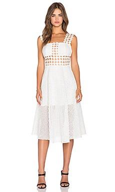 Shakuhachi Wonderland Lace Midi Dress in White