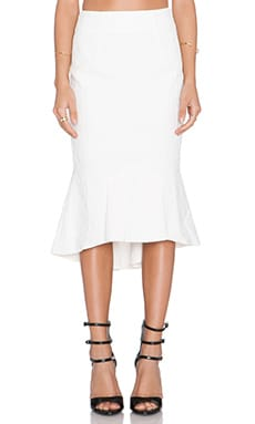 Shakuhachi Cracked Fish Tail Skirt in White