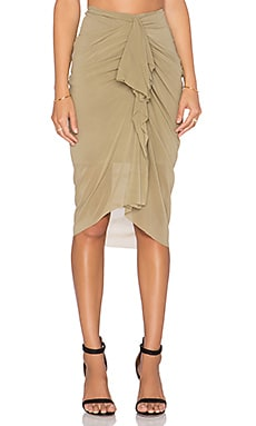 Shakuhachi Ruched Drape Skirt in Olive