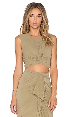 Shakuhachi Ruched Twisted Crop Top Coat in Olive