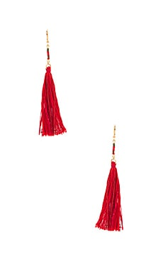 Carolina Tassel Earring en Rouge