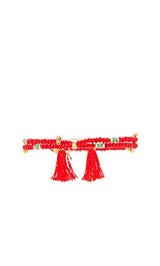 Eliza Crystal Wrap Bracelet in Orange & Red