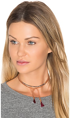 Rachel Wrap Choker in Brown Leather