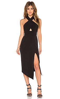 Shona Joy Scuro Cross Over Halter Dress in Black