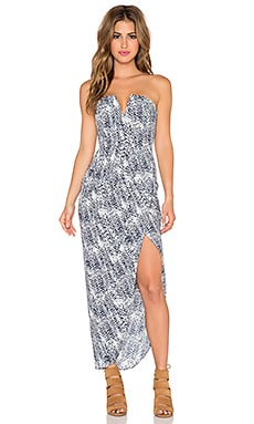Shona Joy Cascada Bustier Draped Maxi Dress in Navy & White