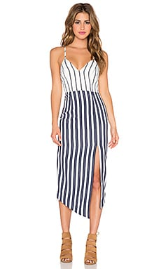 Shona Joy La Raya Midi Dress in Navy & White