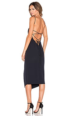Shona Joy Crete Lace Up Midi Dress in Navy