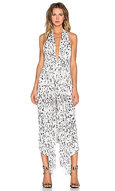 Shona Joy Deia Plunged Midi Dress in Multi Spot